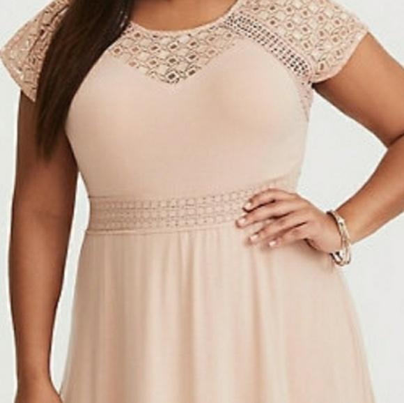7e6909577fe5b7 torrid Dresses   Blush Crochet Yoke Maxi Dress   Poshmark